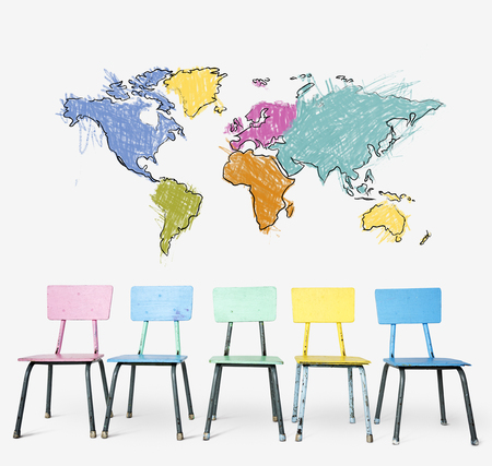 Colorful chair with cartography world map drawing art
