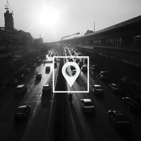 旅行先の GPS グローバル ポジショニング システム マーカー 写真素材