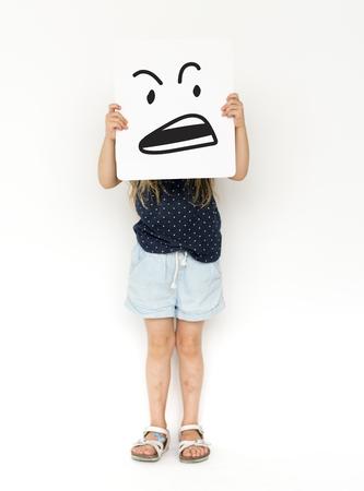 Illustration of agressive madness face on banner Stock Illustration - 83006217