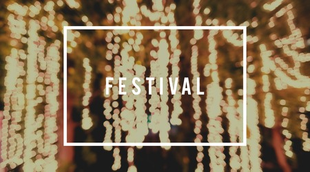 Festival Word with Blurred Light Background Stock fotó
