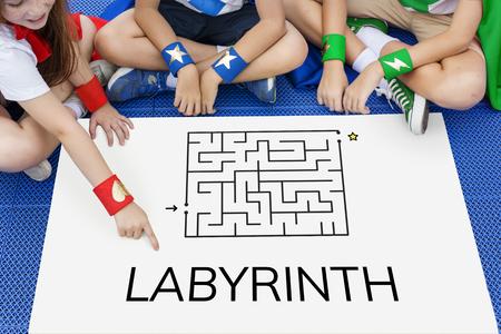 Superhero kids solving enigma concept together Фото со стока