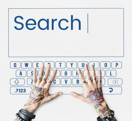 Search keyboard word alphabet finding Banco de Imagens