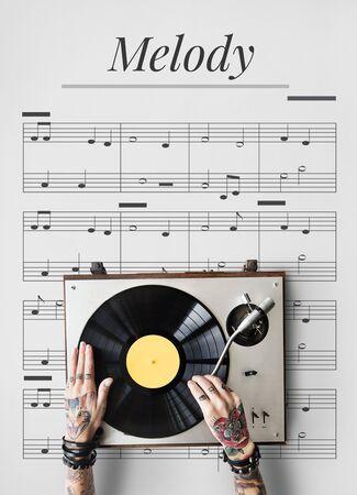 音楽楽器ネットワーク グラフィックに取り組んで手オーバーレイの背景