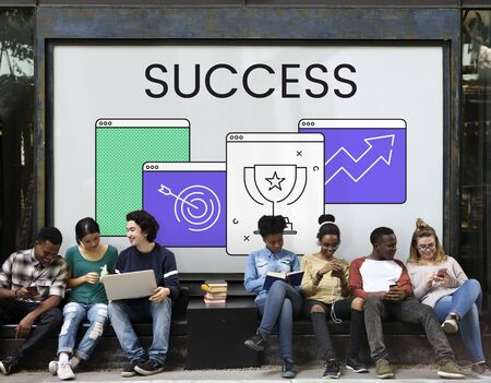 Group of diverse young people with success