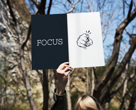 Illustratie van wijsvinger focus aandacht Stockfoto