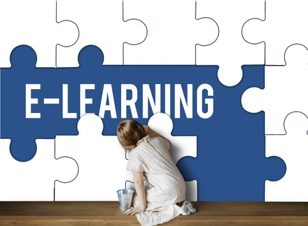 Education Learning Puzzle Pieces Graphic Фото со стока