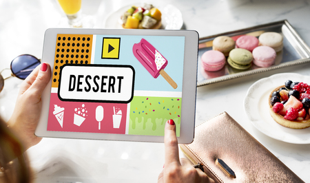 Sweet Delicious Yummy Tasty Food Dessert Snack Word Graphic Imagens
