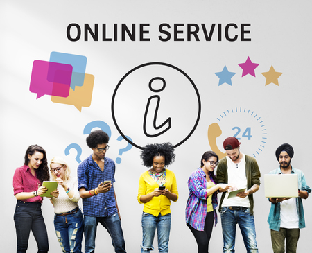 Group of people with illustration of contact us online customer services Stock Photo