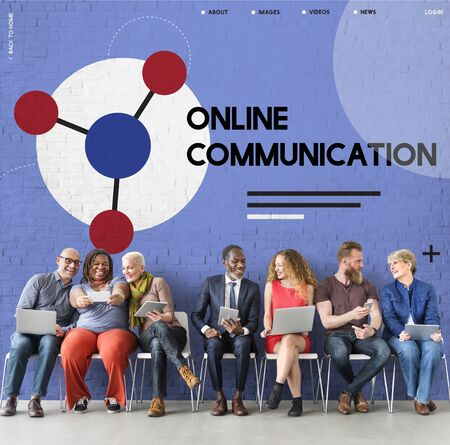 Group of people connected with social network online community Stok Fotoğraf