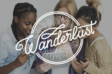 Young Adult Women with Wanderlsut Word Graphic Imagens