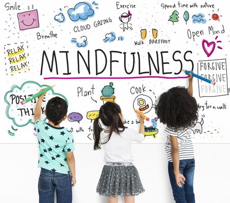 상상해 학습 Mindfulness 스케치 학교 스톡 콘텐츠