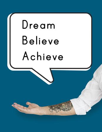 Dream Believe Achieve Aspiratie Motivatie Visie Stockfoto
