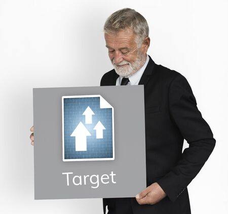 Businessman plan and analysis market growth Banco de Imagens