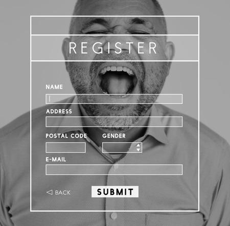 username: Register Username Account Summit Banner Stock Photo