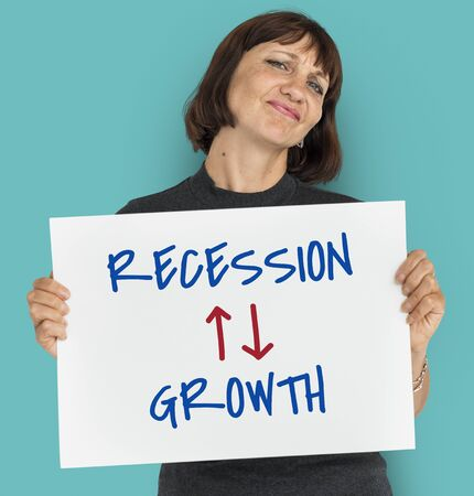 Recession Growth Arrow Up Down Word Stok Fotoğraf - 82862687