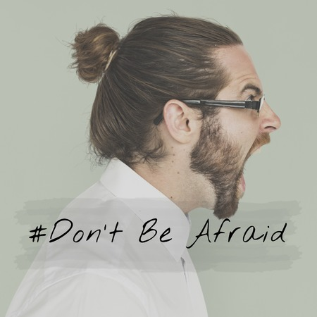 Life Motivation Word on Adult Bearded Man Background