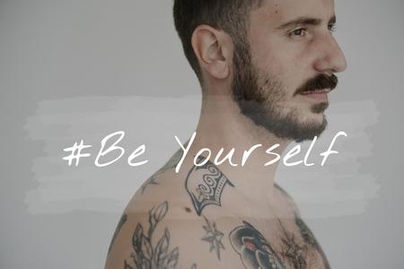 Life Motivation Word on Adult Tattoo Shirtless Man Background Stok Fotoğraf - 82863117