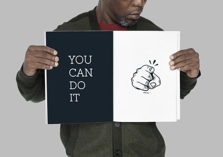 Ilustración del dedo apuntando con aspiraciones motivadas Foto de archivo - 82863253