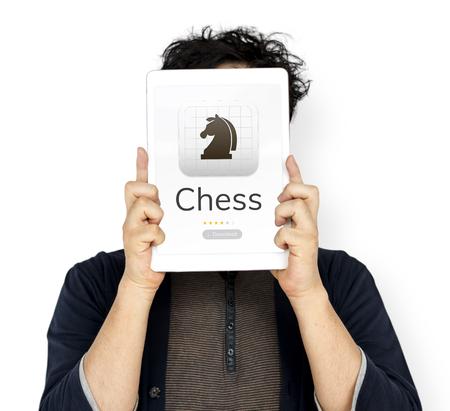 Illustratie van schaak strategische geest spel applicatie Stockfoto