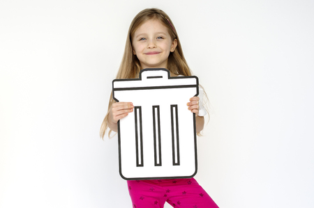 Kid portait holding paper icon Stock Photo
