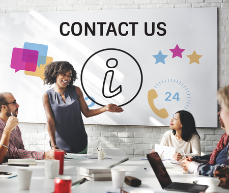 Group of people with illustration of contact us online customer services Reklamní fotografie
