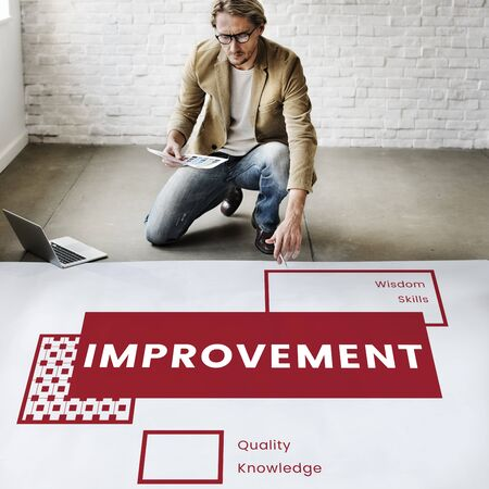Man Design Plan on the White Banner with the Word