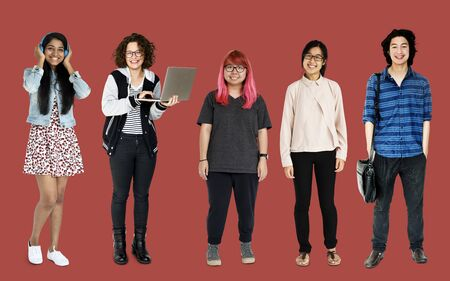 Diverse of Young Adult People Studio Isolated Stock Photo