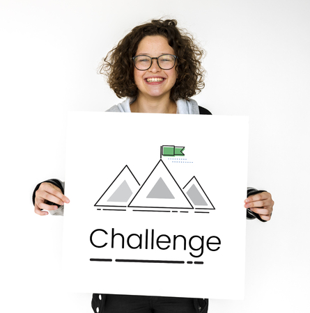 バナー山と目標の図 写真素材