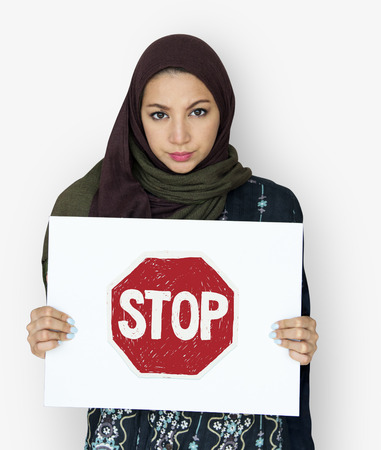 Middle eastern girl with stop bullying campaign