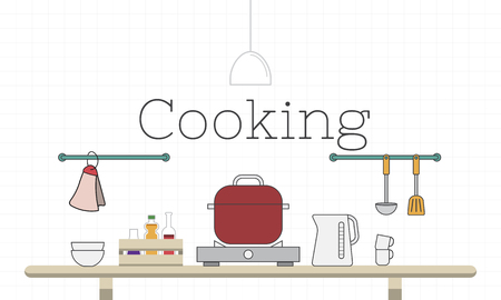 Illustration des Kochens Küche Küchenutensilien Standard-Bild - 82941081