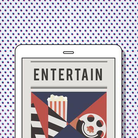 Illustration of movies theatre media entertainment on digital tablet Banco de Imagens