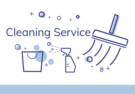 Illustration of home cleaning service commercial Фото со стока