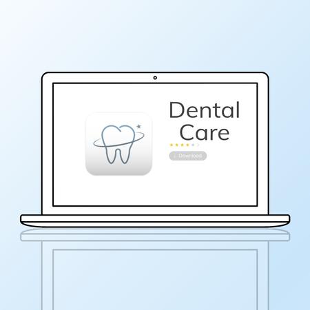 Illustration of dental care application on laptop Banco de Imagens
