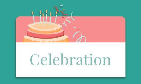 Illustration de l & # 39 ; anniversaire célébration célébration de gâteau avec gâteau Banque d'images - 82941446