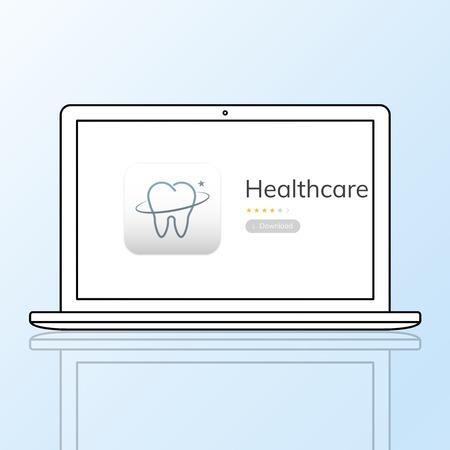 노트북에 치과 치료 응용 프로그램의 그림