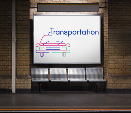 Illustration of automotive car rental transportation commercial at subway