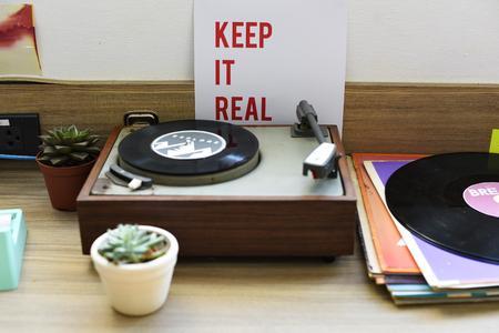 Klassiek vinyl recordmuziek media entertainment Stockfoto