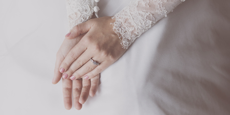 Close up of a brides hands Stock Photo