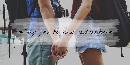 where to go: Couple Wander Travel Together Word Stock Photo
