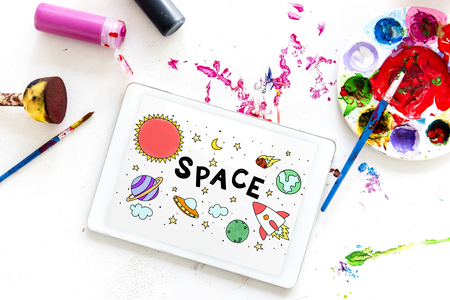 Illustration of solar system outerspace astronomy studying Stock Photo