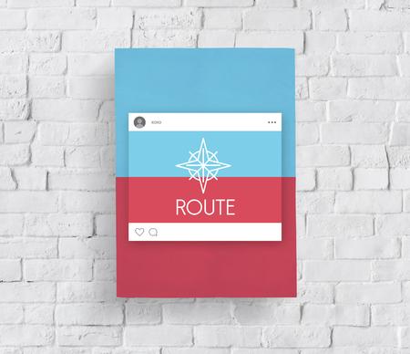 Affichage direction guide navigation de la route de la route graphique de mot Banque d'images - 82947097