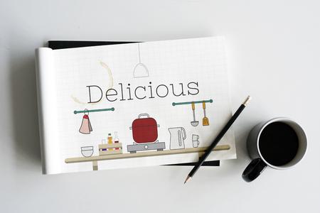 Illustratie van voedsel koken keuken gereedschap op notitieboekje Stockfoto