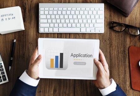 Illustration of mobile application graph download on digital tablet
