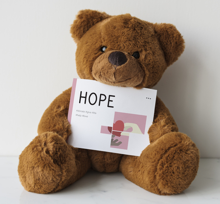 Teddy bear with charity donations campaign illustration