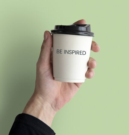 Network connection graphic overlay coffee cup