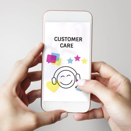 Illustration of contact us online customer services on mobile phone Stock Photo