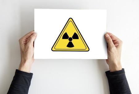 Radioactive risk hazard safety caution sign 版權商用圖片