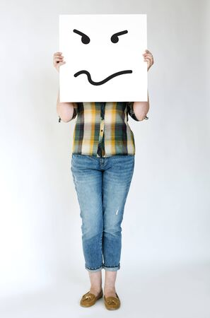 배너에 적극적인 광기 얼굴의 그림 스톡 콘텐츠
