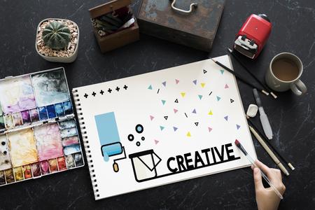 Graphic of creative art design on sketchbook Stock fotó