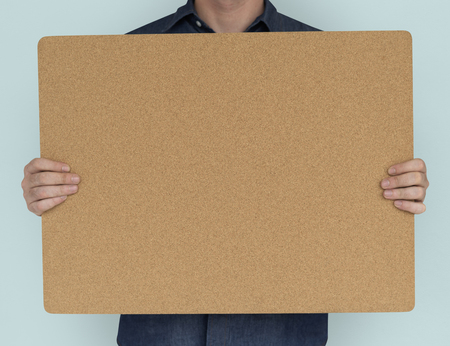 Man Holding Cork Board Copy Space Concept Stock Photo